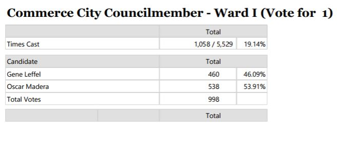 Unofficial election results for Ward I