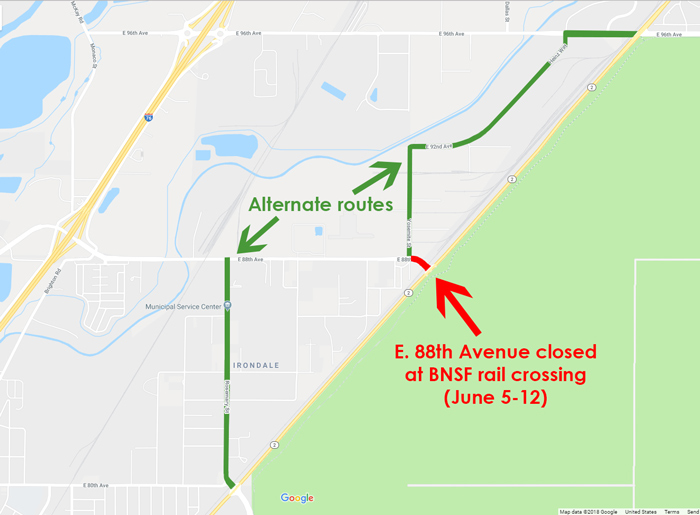 Railroad work to close E  88th Avenue at Highway 2 for seven